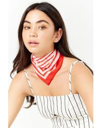 Forever 21 - Striped Satin Square Scarf - Lyst