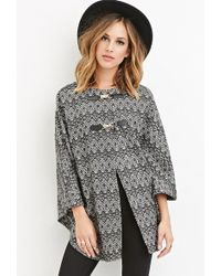 Forever 21 Geo-patterned Poncho - White
