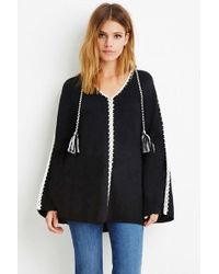 Forever 21 Contemporary Chunky Knit Tasseled Poncho - Black