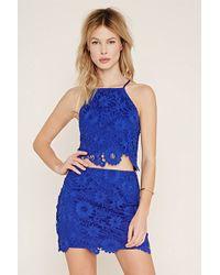 Forever 21 Floral Crochet Skirt - Blue