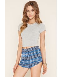 Forever 21 Floral Stripe Dolphin Shorts - Blue