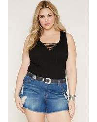 Forever 21 Plus Size Lace-up Sweater Top - Black