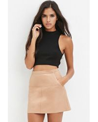 Forever 21 Faux Leather Skirt in Natural | Lyst