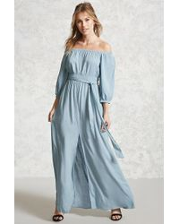Forever 21 Contemporary Belted Maxi Dress in Blue | Lyst
