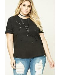 e8a7264451b Lyst - Forever 21 Plus Size Raw-cut Tee in Black