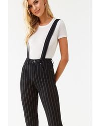 Forever 21 Pinstriped Denim Suspender Pants , Black/ivory