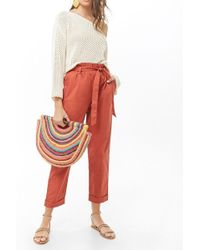 Forever 21 Women's Belted Cuffed Paperbag Pants - Red
