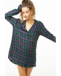 f70d3189572553 Lyst - Forever 21 Women s Tartan Check Flannel Shirt