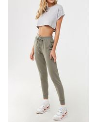 Forever 21 French Terry Sweatpants , Olive - Green