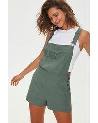 Forever 21 V-back Overall Shorts - Green