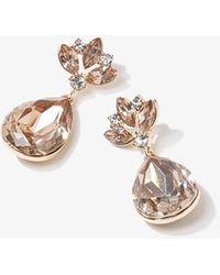 Forever 21 Faux Gem & Rhinestone Drop Earrings , Champagne - Multicolour