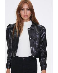 Forever 21 Shirred Faux Leather Jacket - Black