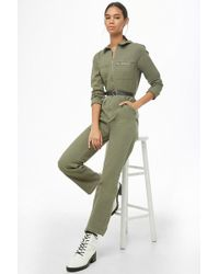 Forever 21 Zip Utility Jumpsuit , Olive - Green