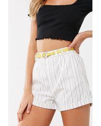 Forever 21 Striped Print Shorts , White/black