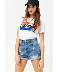b1d44a35301 Forever 21 Plus Size Distressed High-rise Denim Shorts in Blue - Lyst