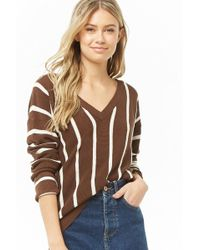 Forever 21 Women's Striped V-neck Sweater - Brown