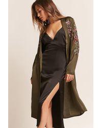 Forever 21 | Textured Satin Floral Kimono | Lyst