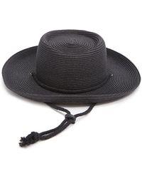 Forever 21 Straw Boater Hat , Black/black