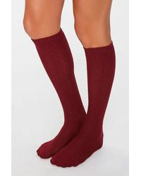 Forever 21 Cable Knit Knee-high Socks - Red