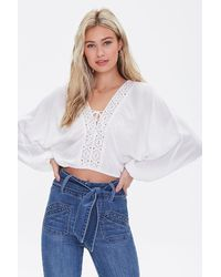 Forever 21 Lace-up Dolman Crop Top - White