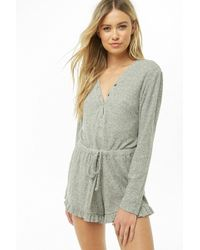 eb6a821750cf Lyst - Forever 21 Pajama-inspired Romper in Black
