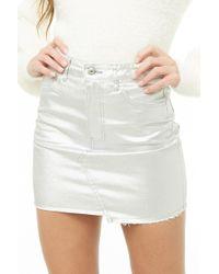 Forever 21 - Women's Metallic Denim Mini Skirt - Lyst