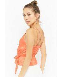 Forever 21 - Satin Surplice Cami - Lyst