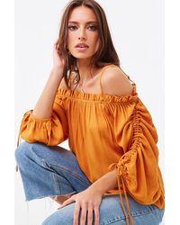 Forever 21 Ruffled Open-shoulder Top - Orange