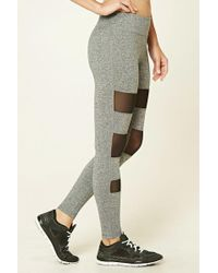Forever 21 - Active Mesh-panel Leggings - Lyst