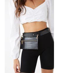 Forever 21 Faux Croc Leather Belt Bag , Black