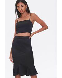 Forever 21 Fluted Knee-length Skirt - Black