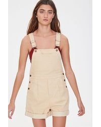 Forever 21 Corduroy Overall Shorts - Natural