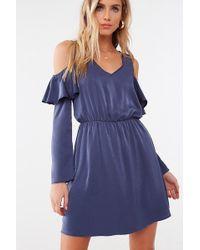 Forever 21 - Satin V-neck Mini Dress , Navy - Lyst