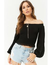 f60d31c8010 Forever 21 - Balloon-sleeve Open-knit Top - Lyst