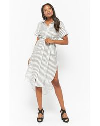 2bea9cd38d62c Lyst - Forever 21 Plus Size Striped Shirt Dress in Black
