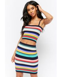 Forever 21 - Ribbed Knit Multicolor Striped Bodycon Mini Skirt - Lyst
