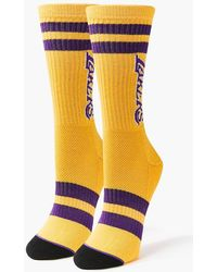 Forever 21 Women Striped Lakers Crew Socks - Yellow