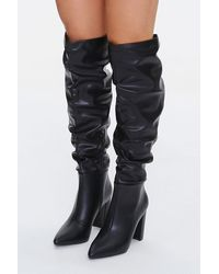 Forever 21 Slouchy Knee-high Boots - Black