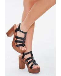 Forever 21 Faux Wooden Platform Heels - Black