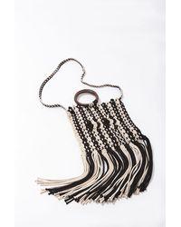 Forever 21 Striped Fringe Tote Bag - Black