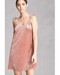 Forever 21 | Self-tie Velvet Cami Dress | Lyst