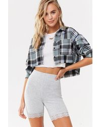 Forever 21 Lace-trim Biker Shorts - Grey