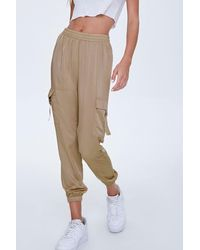 Forever 21 Satin Cargo Sweatpants - Brown