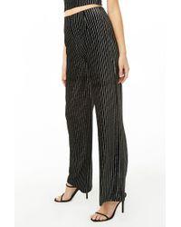 Forever 21 Metallic Striped Pants , Black/silver