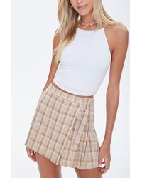 Forever 21 Plaid Mock Wrap Skort - Multicolor