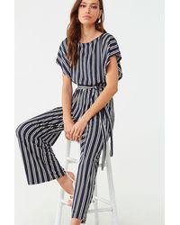 Forever 21 Striped Dolman Jumpsuit - Blue