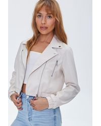 Forever 21 Faux Leather Moto Jacket - Natural