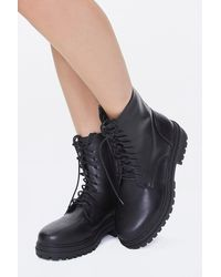 Forever 21 Faux Leather Lace-up Ankle Boots In Black, Size 5.5