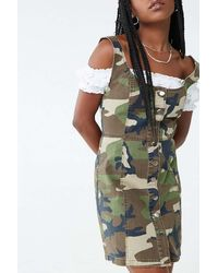 Forever 21 Camo Button-down Denim Dress - Green