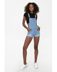 Forever 21 Distressed Overall Shorts - Blue